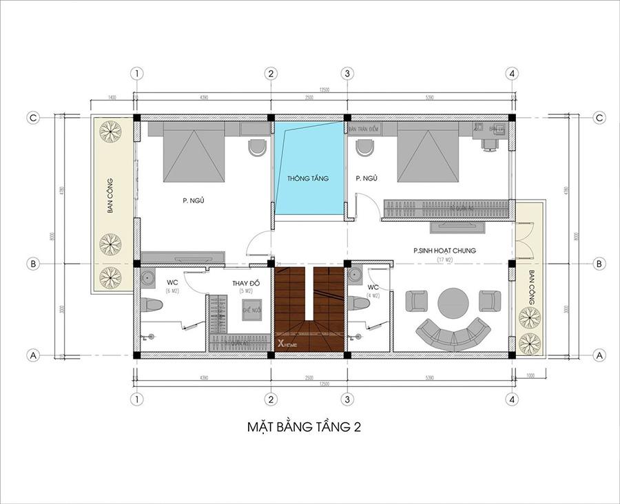 Mặt bằng tầng 2 ngôi nhà 3 tầng