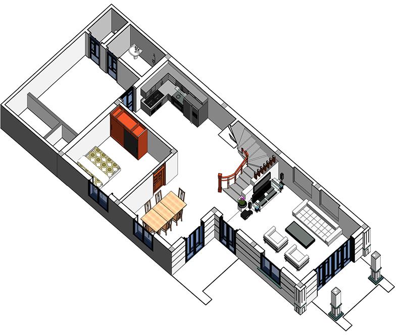 bản vẽ 3d mẫu thiết kế nhà 2 tầng 3 phòng ngủ