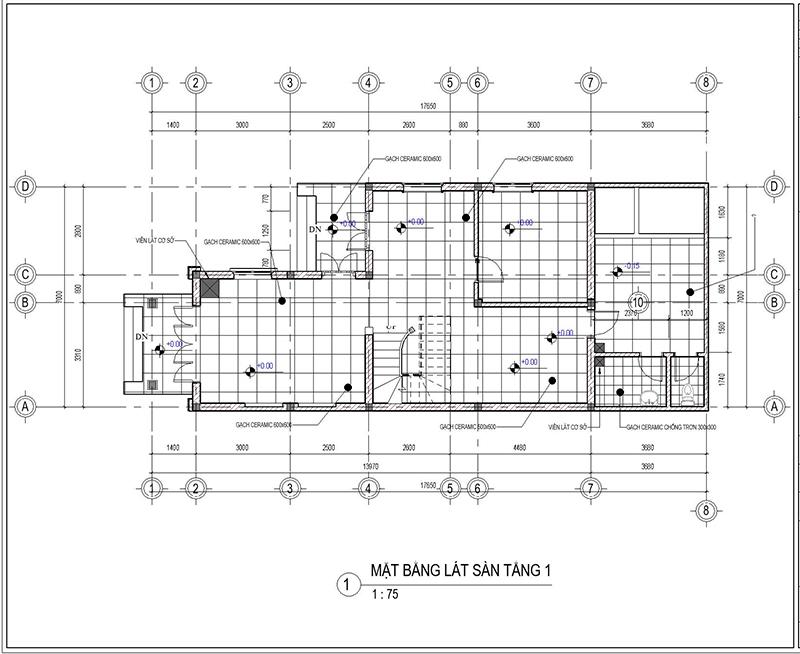 bản vẽ thiết kế nhà 2 tầng 3 phòng ngủ