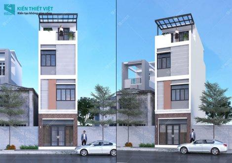 thiết kế nhà phố 1 trệt 3 lầu