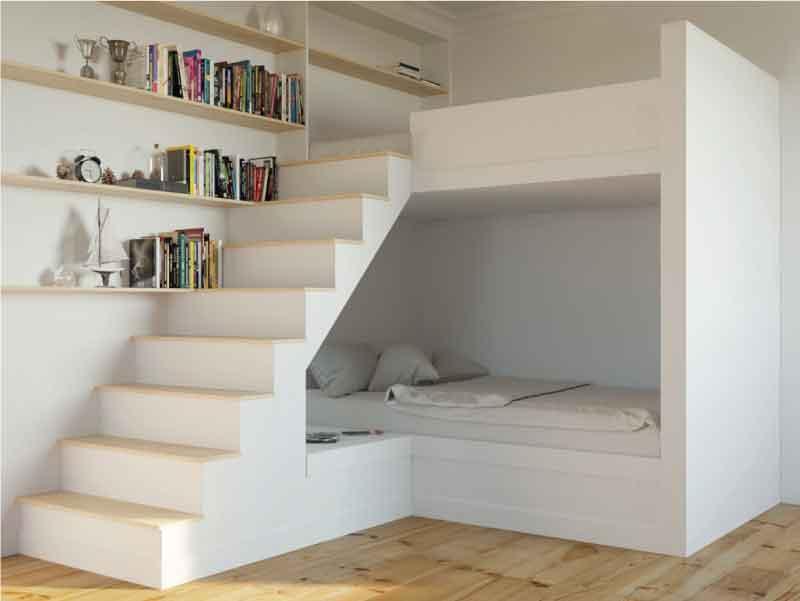 giường tầng kết hợp cùng kệ sách