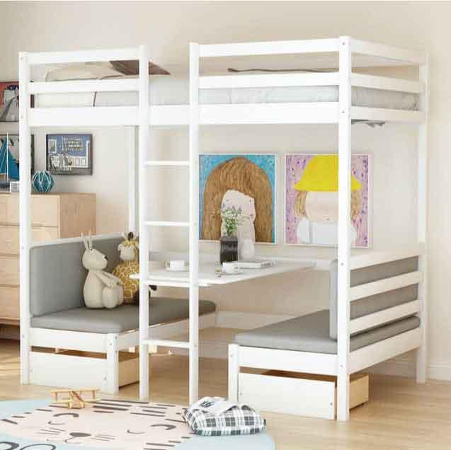 mẫu giường tầng có bàn học