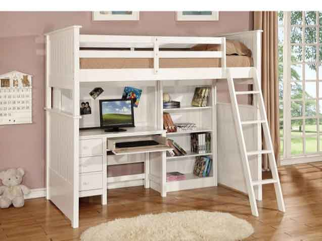 không gian học tập kết hợp cùng giường tầng