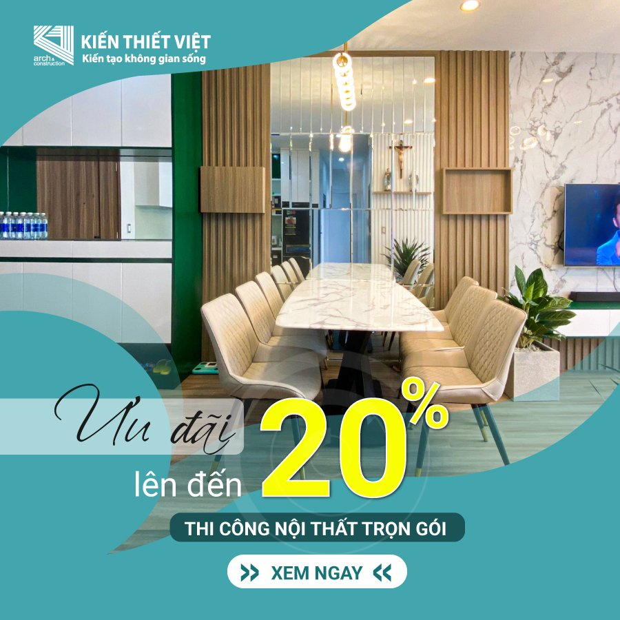 ưu đãi 20% khi thiết kế nội thất