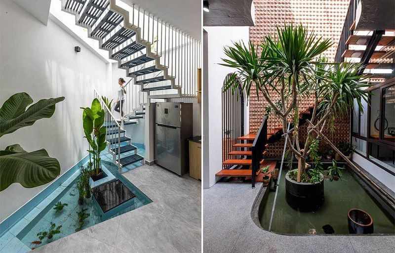 mẫu thiết kế bể cá dưới gầm cầu thang