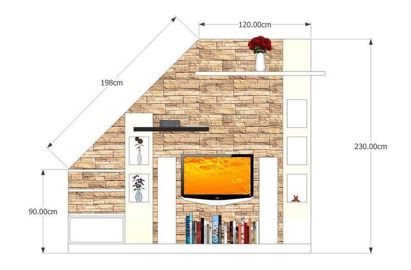 mẫu thiết kế tivi dưới gầm cầu thang