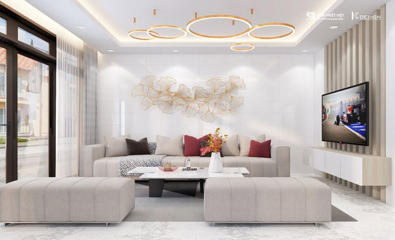 thiết kế nội thất phòng khách nhà chị hiền củ chi