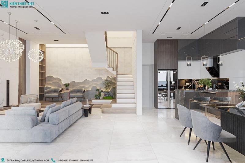Thiết kế phòng khách kết hợp với bếp nhà anh thiện