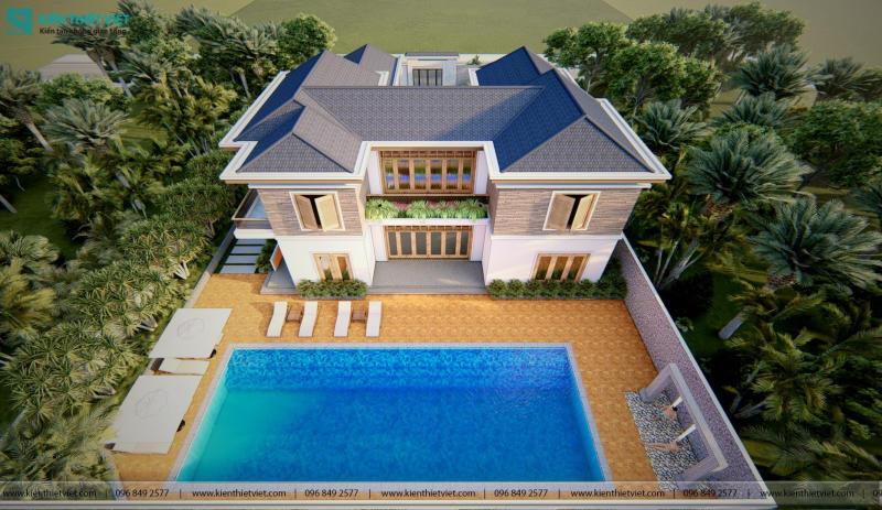 Thiết Kế Biệt Thự Sân Vườn Mái Thái Hồ Bơi