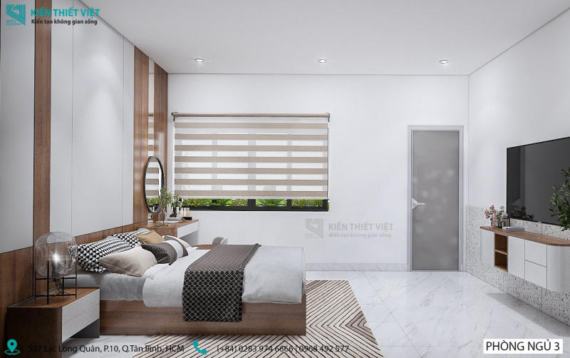 thiết kế phòng ngủ số 3 nhà anh dũng